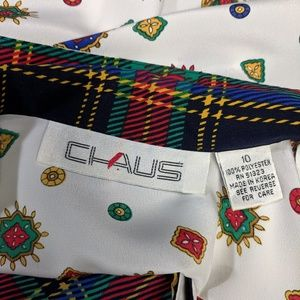 Chaus Tops - Chaus Tartan Plaid Blouse